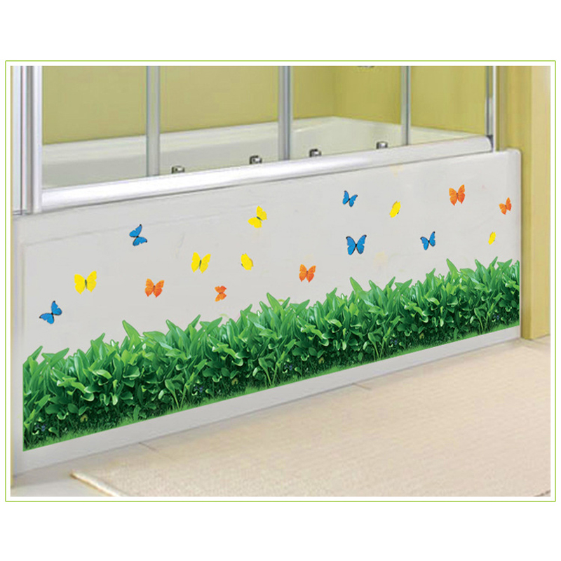 Butterfly grass home Foot line wall stickers grass and flower natural wall sticker home living room bedroom decoration AY7185
