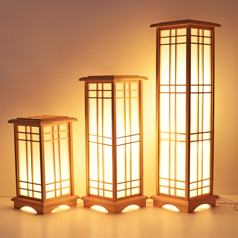 Modern Japanese Floor Lamp Washitsu Tatami Decor Window Pane Lamp Restaurant Living Room Hallway Lighting Home Design Wood Lamp japanese ceiling lights mahogany finish shoji lamp wood paper washitsu tatami decor living room indoor lantern lamp lighting