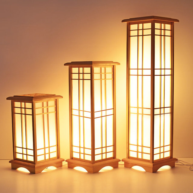 Modern Japanese Floor Lamp Washitsu Tatami Decor Window Pane Lamp  Restaurant Living Room Hallway Lighting Home