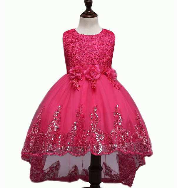 High Quality New Flower Girl Party Bridesmaid Princess Dress For Little Girls Wedding Party dresses Princess bow pink purple
