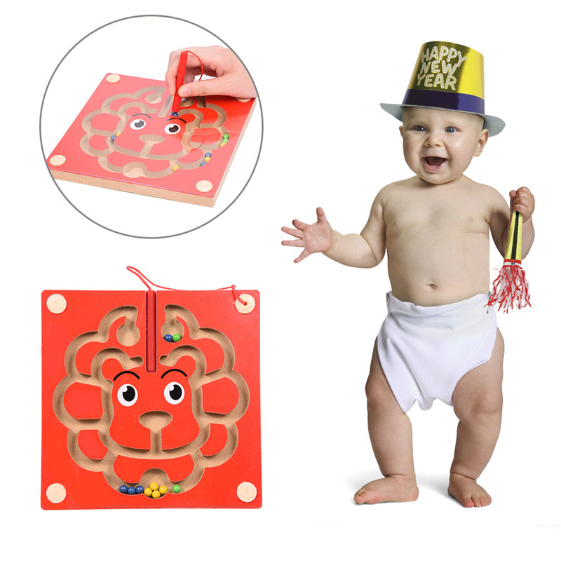 Sheep Shape Fiberboard Magnetic Maze Game Magnetic Pen Labyrinth Board Chess Intelligence Games Early Development Novelty New