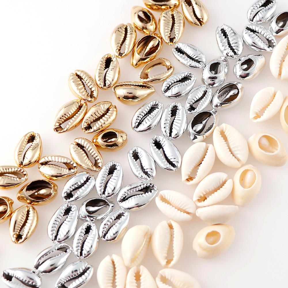 20 штук 10 мм-17 мм золото/покрытый серебром натуральный Цвет раковину бусины Каури племенной ювелирные аксессуары без отверстия