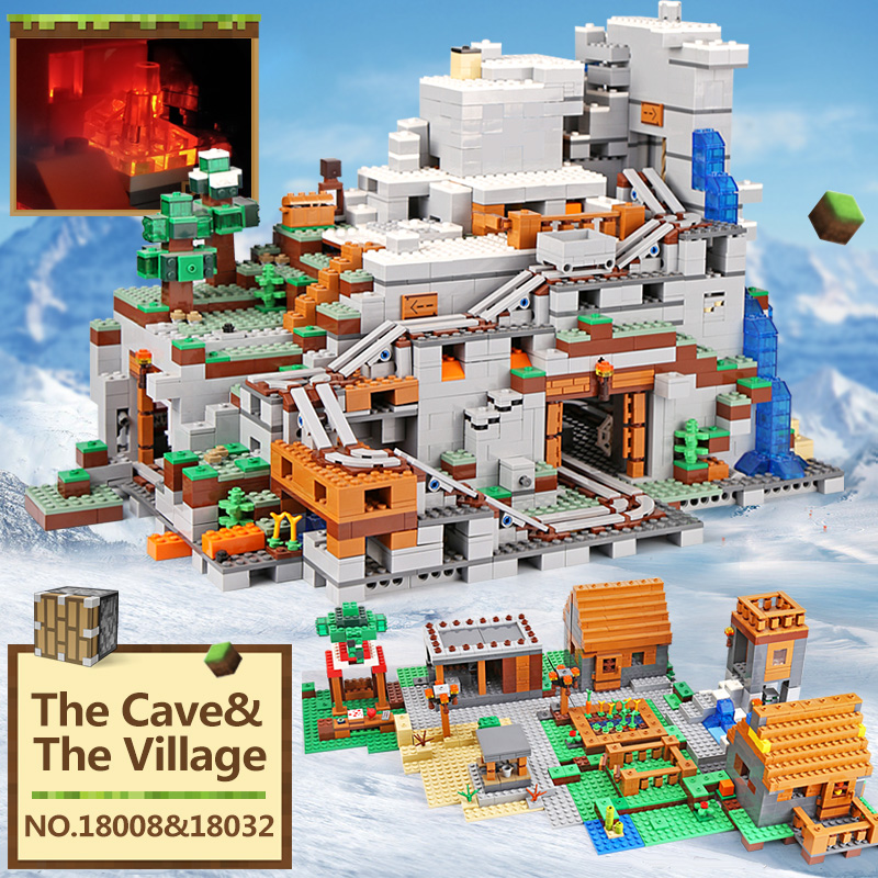 18032 18008 My World Toddlers Iron Golem kids Toys Mountain Cave Building Blocks brick compatible with legoings 21137 Christmas-in Blocks from Toys & Hobbies