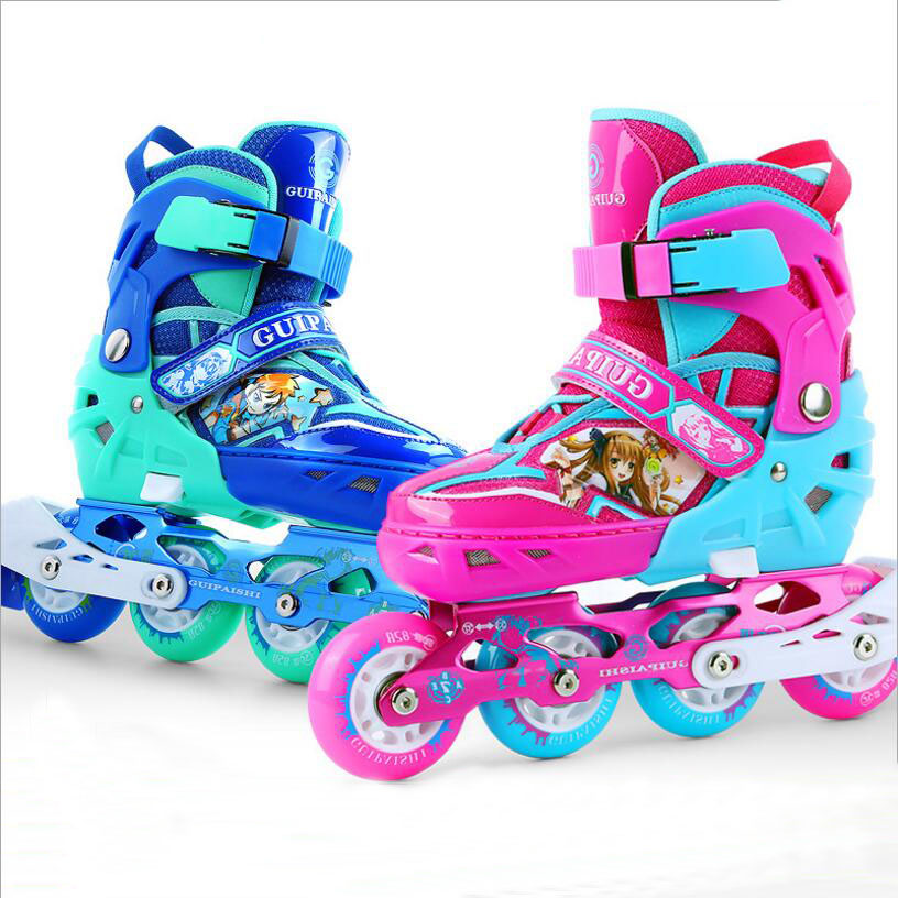 Children blue and red skates shoes Classic sets Dual purpose Roller Skates shoes with siez S/M/L can adustable and Breathable hot sale free shipping children s roller skates pink and blue color