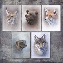 Maine Coon Cat Bear Fox Wolf Meerkat Wall Art Canvas Painting Nordic Posters And Prints Pictures For Living Room Home Decor