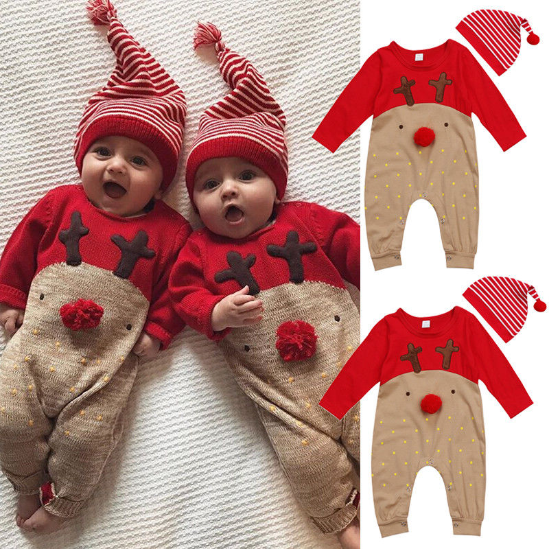 2Pcs Baby Boy Girl Christmas Reindeer   Romper   Long Sleeve Deer Autumn Winter   Romper   Jumpsuit Hat Sleepwear Party Costume Clothes