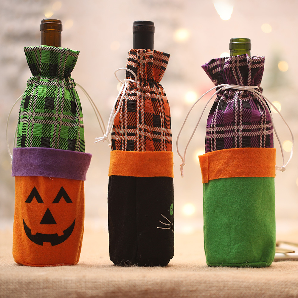 Halloween Decorations Supplies Creative Halloween Party Props Wine Bottles Cover Scary Horror Witches Pumpkins Bottle Cover in Party DIY Decorations from Home Garden