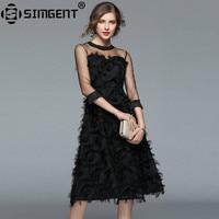 Simgent Spring Fashion Women Sexy Feather Mesh Tassel Patchwork Elegant Office Work Slim Ball Gown Dress