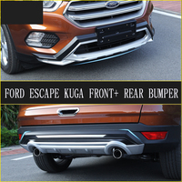 Fit For Ford Escape Kuga 2017 Front+ Rear Bumper Diffuser Bumpers Lip Protector Guard skid plate ABS Chrome finish 2PES