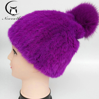 Autumn and winter imported mink fur knit cap encryption hand woven stretch net cap ladies outdoor hat comfortable warm