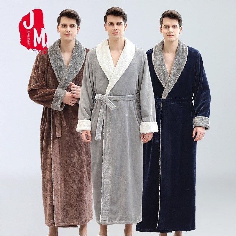 Winter Man Thick Warm Coral Fleece Kimono Bathrobe Gown Robe Dress Lovers  Nightwear Pijama Sleepwear Fur Neck Bath Robe XXX