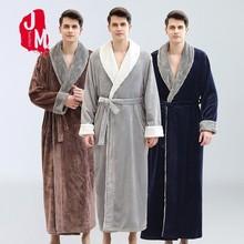 Winter Man Thick Warm Coral Fleece Kimono Bathrobe Gown Robe Dress Lovers  Nightwear Pijama Sleepwear Fur Neck Bath XXX