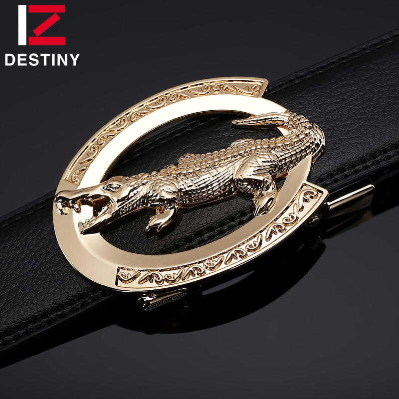 DESTINY Famous Brand Luxury Crocodile Belt Men Designer Belts High Quality Male Genuine Leather Strap Wedding Gold Silver Alloy in Men 39 s Belts from Apparel Accessories