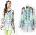 2015 de calidad primavera verano new green floral posicionamiento imprimir mujeres de manga larga venta al por mayor gasa largas camisas blusa