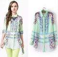 2015 spring Quality summer new green floral positioning print women's wholesale long sleeve chiffon long shirts blouse