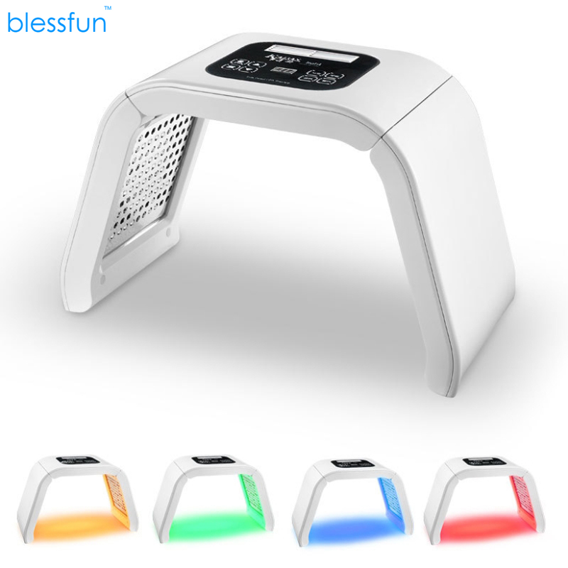 4 Color LED Photon Therapy Machine LED Facial Mask Anti Acne Wrinkle Removal Skin Rejuvenation Therapy Beauty Device Blessfun 7 colors light photon electric led facial mask skin pdt skin rejuvenation anti acne wrinkle removal therapy beauty salon
