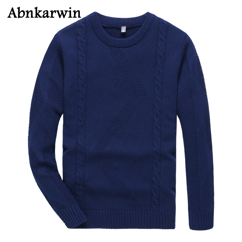 Men Casual Solid Autumn Winter Sweaters Plus Size 3XL Male O-Neck Pullover Knitted Sweater Cotton Clothing Hombre