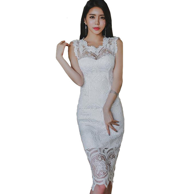 9ff134119f1f Trending Styles 2018 Summer Women Crochet White Lace Dress Sexy Hollow Out  Split Zip Back Knee