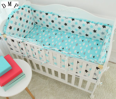 Promotion! 5PCS Cartoon Baby 100% cotton bedding set baby bed around child bed sheets cartoon (4bumper+sheet )