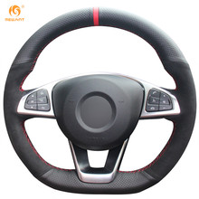 MEWANT Black Genuine Leather Black Suede Steering Wheel Cover for Mercedes Benz C200 C250 C300 B250 B260 A200 A250 Sport CLA220