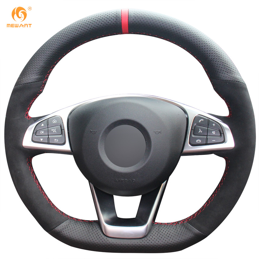 Mewant black genuine leather black suede steering wheel for Mercedes benz steering wheel cover