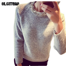 2018 Fashion Women Sweater Beading O-Neck Solid Casual Slim Ladies Cashmere Sweater Pullover Spring Autumn Winter  SW528