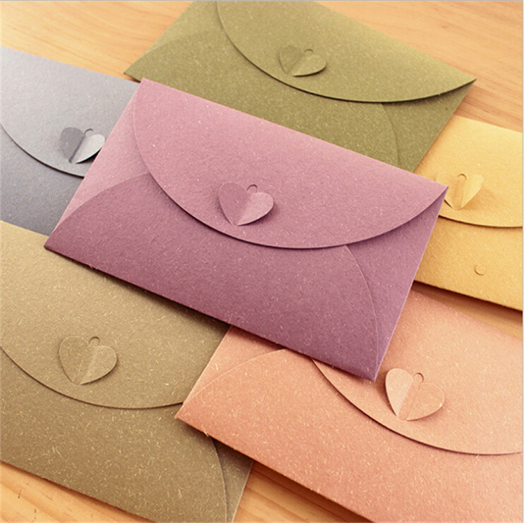 500 PCS A6 Colorful Paper Envelopes With Love Buckle Business Photo Envelope Creative Gift Envelop Size 175*110mm