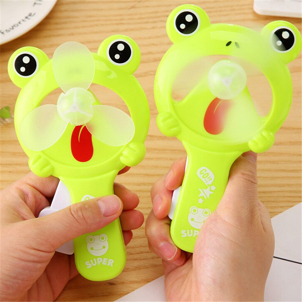 Cartoon Handheld Ventilador Mini Handheld Water Mist Fan For Children Lovely Frog Fan Portable Hand Held Desk Humidification