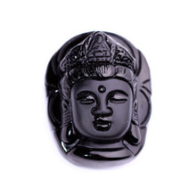 Drop Shipping Black A Obsidian GuanYin Pendant Maitreya Lucky Amulet Buddha Necklace For Women Men Fine Crystal Jewelry все цены