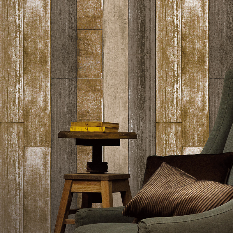Rétro méditerranéen nostalgique Grain de bois 3d plancher Non-tissé papier peint Restaurant hôtel rayé papier peint salon