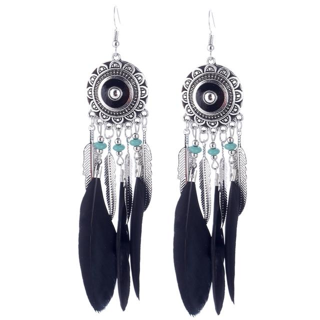 Women's Feather Embellished Long Earrings