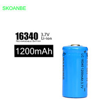 2PCS 16340 battery Accus Rechargeable CR123A LR123A 3V 1200mAh Free Shipping