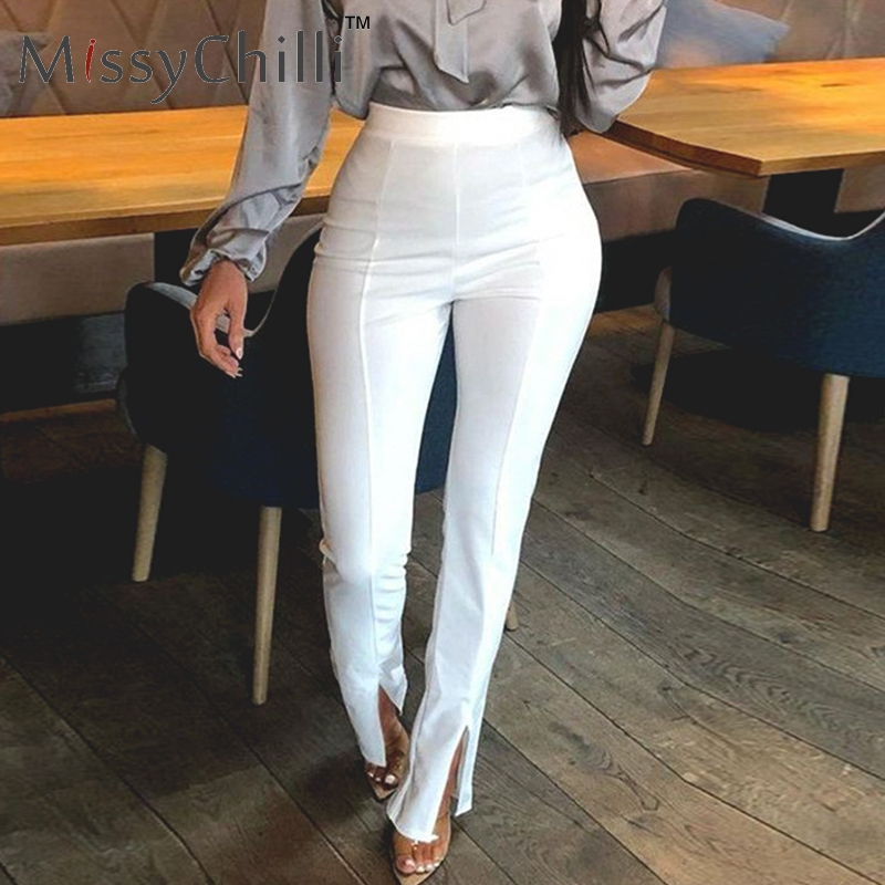 MissyChilli High Waist Khaki Solid Casual Trousers Women Bodycon Split Fashion Pants Female Black Elegant Office Party Bottoms
