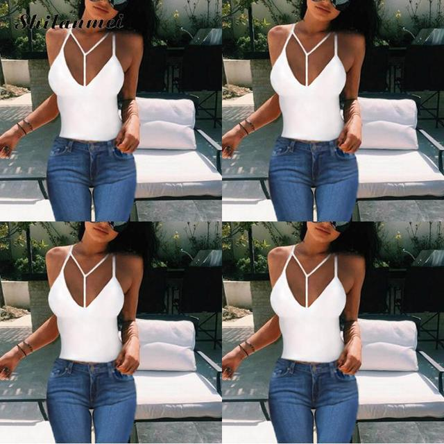 86d9e7ec829d3 US $7.18 35% OFF|New Summer Sexy Sleeveless Silk White Black Women Tank Top  Backless Deep V Neck Y Shaped Camisole Tank Casual Party Girls Tops-in ...