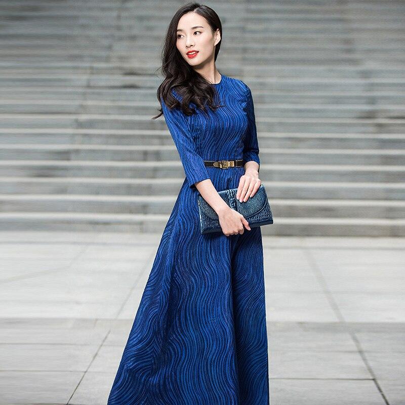 Здесь продается  Navy Blue Long Dress New 2018 Summer Vintage Women Wave Striped Pattern 3/4 Sleeve Elegant Maxi Dress Vestidos De Longo XXXL   Одежда и аксессуары