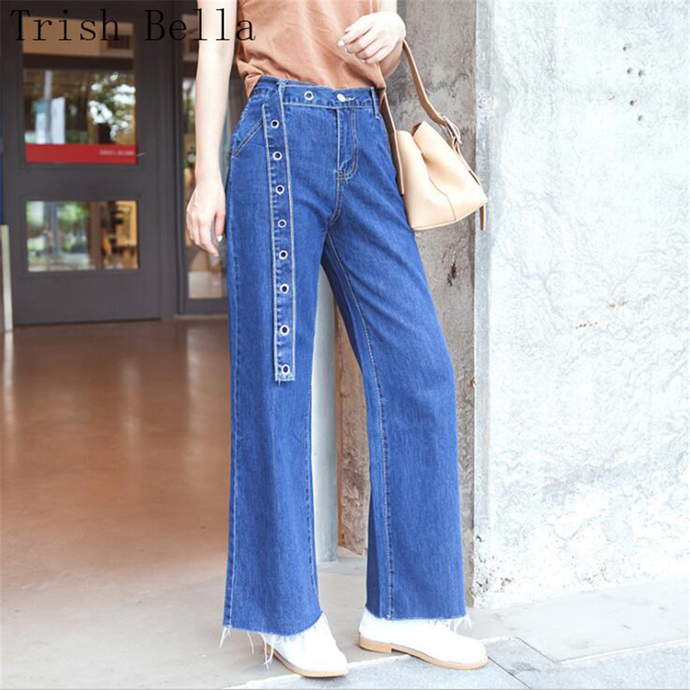 High Waist Jeans Woman 2018 New Fashion Solid Color Easy Belt Bell Bottoms Thin Tassels Korean