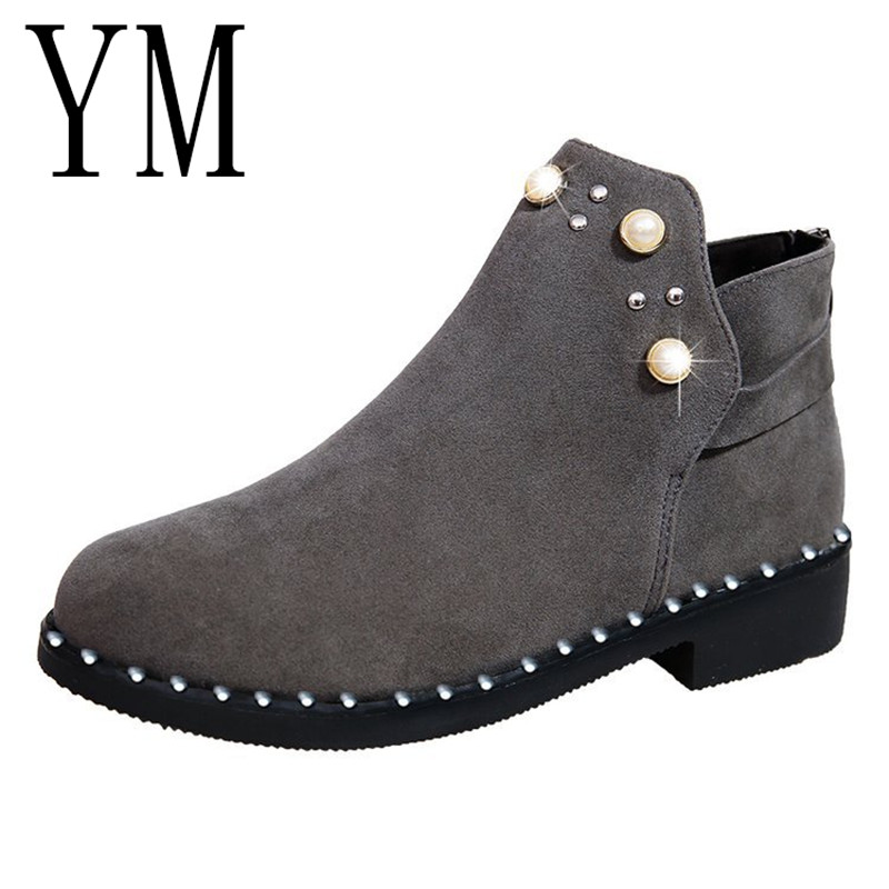 Fashion Women Martin Boots Autumn Winter String Bead Boots Classic Zipper Snow Ankle Boots Winter Suede Warm Women Shoes suede