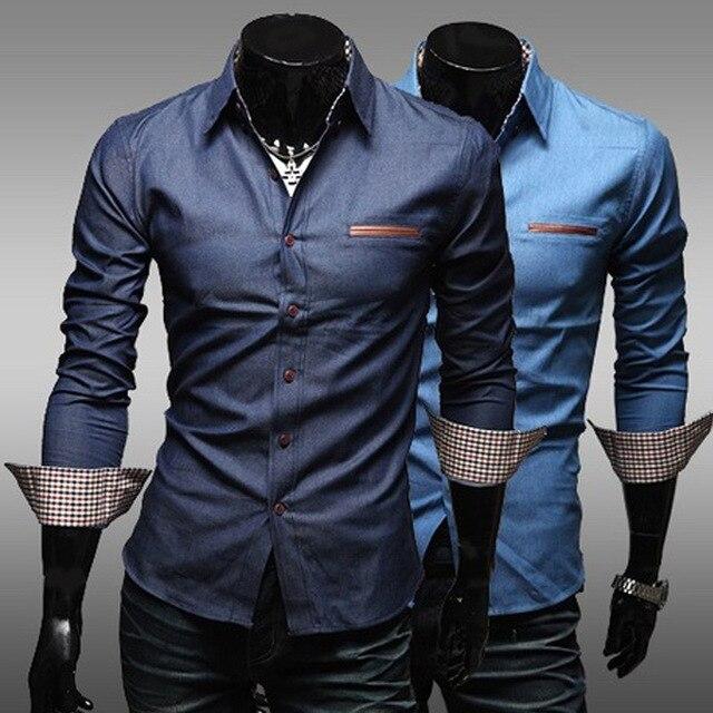 Shirts Design For Mens 2014 | 2014 New Men S Plaid Shirt Denim Shirt Design Slim Shirts Men S
