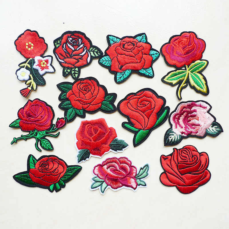 1Pcs Rose Flower Embroidery Iron on Patches for Clothing DIY Stripes Jeans Hat Sticker Appliqued Badges Sewing Dress Accessories