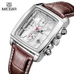 Часы для мужчин MEGIR бренд кожаный ремешок повседневное часы для мужчин кварцевые с функцией хронографа часы человек спортивные
