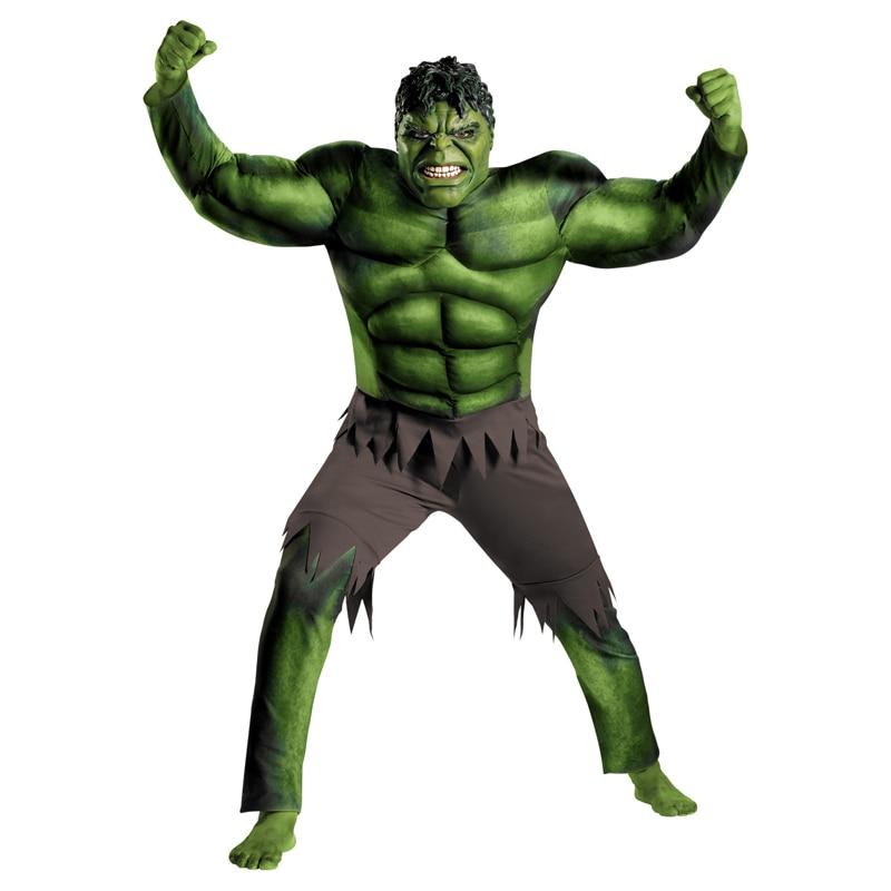 On Sale Adult Men's Muscle Hulk Halloween Costume Marvel Superhero Fantasy Movie Fancy Dress Cosplay Clothing