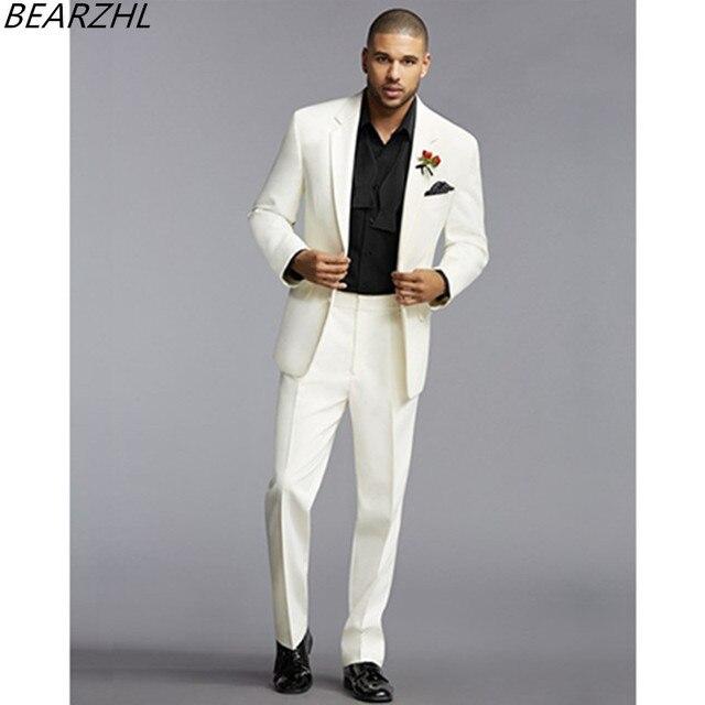mens designer suits groom tuxedo ivory men suit high quality prom ...