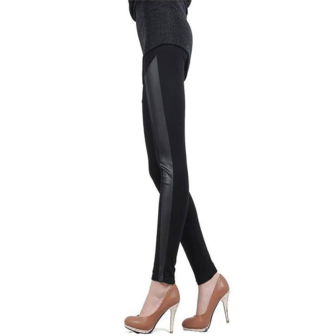 Trendy Women Winter Spring Soft PU Leather Polyester Patchwork Embellished Leggings Girls Casual Style Slim Sequin Leggings