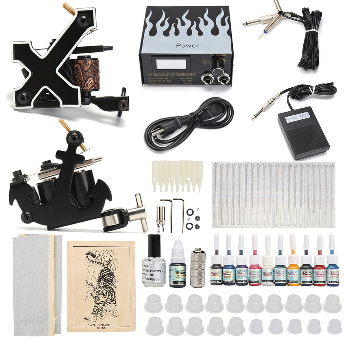 Complete Tattoo Kit 2 Tattoo Machine Tool Power Supply Needles 10 Color Inks 20pcs Needles Permanent Makeup Body Tattoo Art complete tattoo kit 2 machine gun 20 color inks power supply d175gd