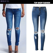 ROSICIL  jeans pants Hot sale2017 Spring Summer fashion knee hole denim pants with zipper skinny silm pencil pants SL018#