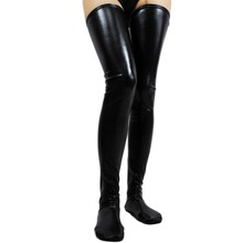 2017 Sexy black faux leather stockings wetlook vinyl fabric best selling products online shop clothing fashion  stocking SA7796