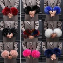 Fashion Lady Apparel Warmers False Cuff Big wool sleeve Oversized Faux fox fur cuff hair bracelet lovely wrist hand winter