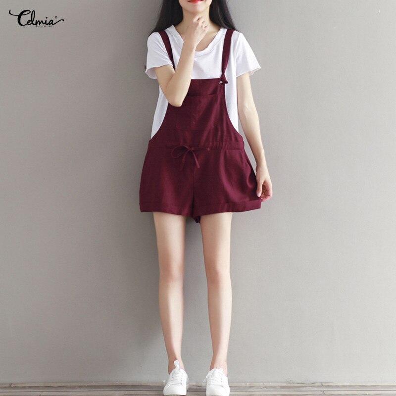Celmia 2018 verano Mujer Overall Bottoms Bodysuits Casual Pantalon algodón Lino monos pantalones cortos mono