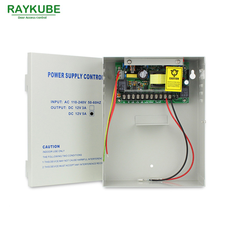 RAYKUBE 12V5A Power Supply Box UPS Backup Power Supply For Access Control System 12v 3a access power supply with battery backup using access control system ups power supply