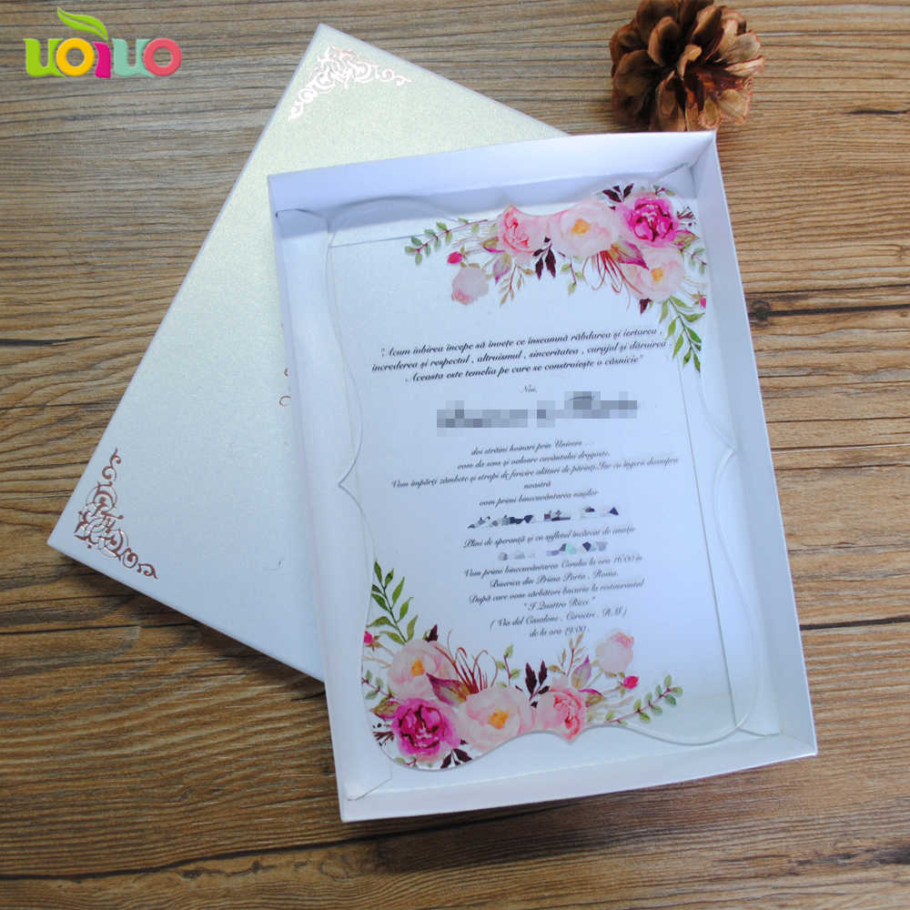 Popular Hot Laser Cut Simple Flower Lace Wedding Invitation Card 3d Clear Acrylic Glass Wedding Cards For Sale